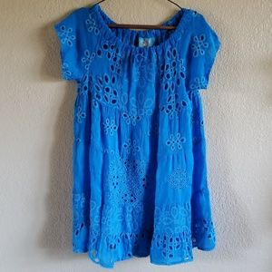 Johnny Was Mixed Tunic in Cobalt